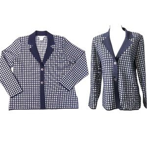 Exclusively Misook Navy Window Pane Button Front